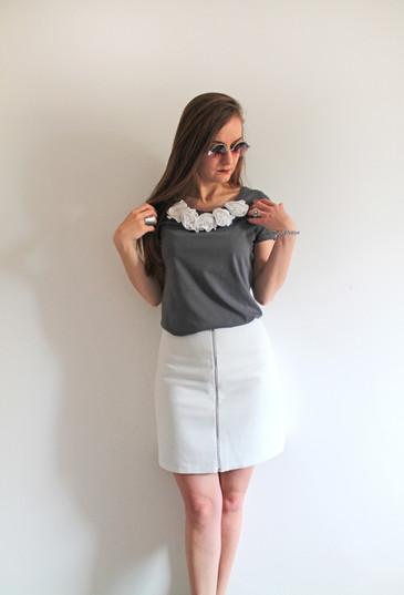 Reversible skirt - blue and white