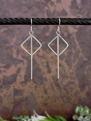 Square Geometric Long Silver Statement Earrings