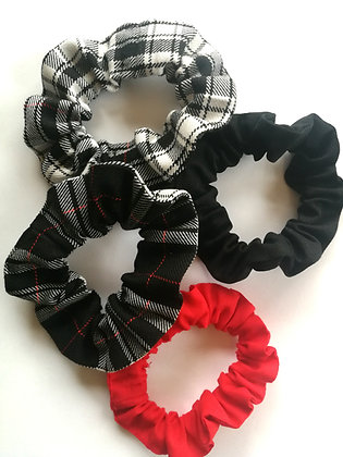 Red and Monochrome Scrunchie set
