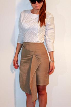 Draped pencil skirt