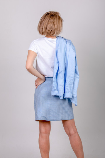 Reversible skirt - blue check and white
