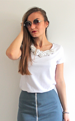 Bamboo Silk Flower T-shirt - White