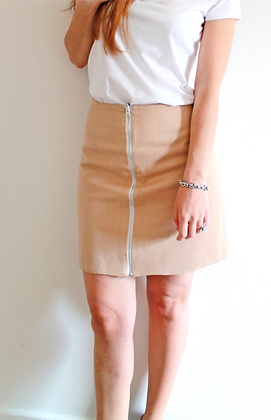 Organic reversible skirt - Beige and White