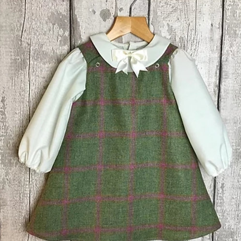 The Windsor Pinafore & PeterPan Blouse Set- Lovat Mulberry Griffin