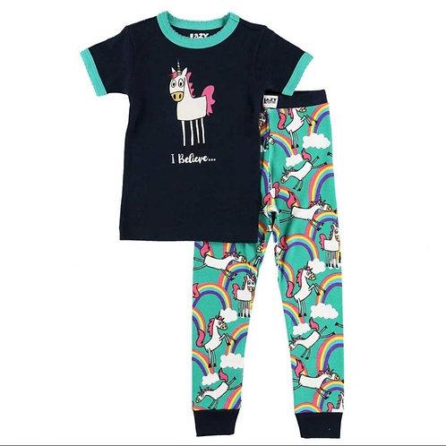 LazyOne Girls I Believe in Unicorns Kids PJ Set