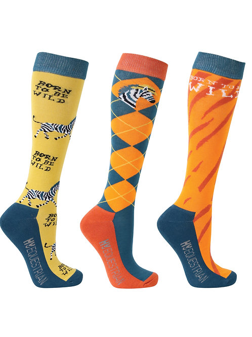 Hy Equestrian Born To Be Wild Socks (Pack of 3)