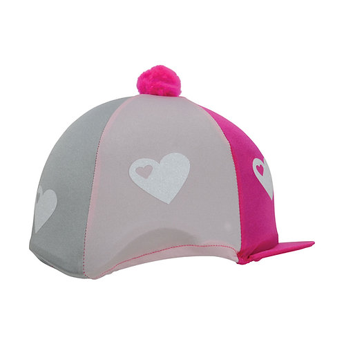 Hy Equestrian Glitter Hearts Hat Cover