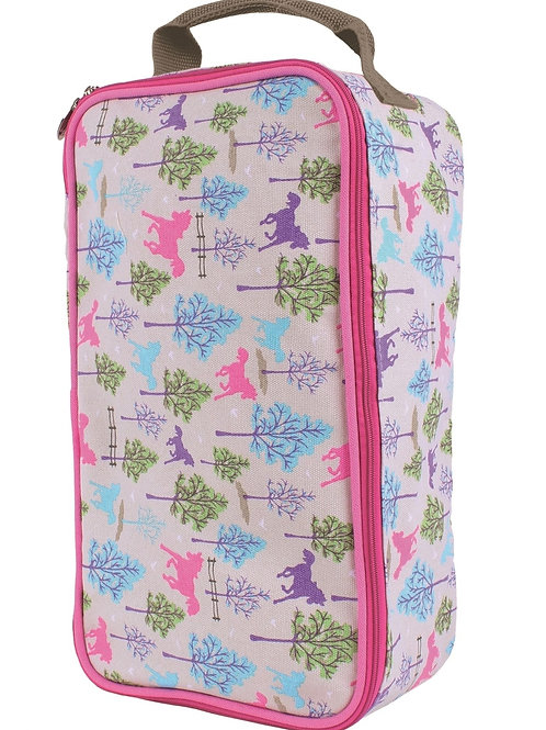 Milly Green Ponies Canvas Kids BOOT Bag