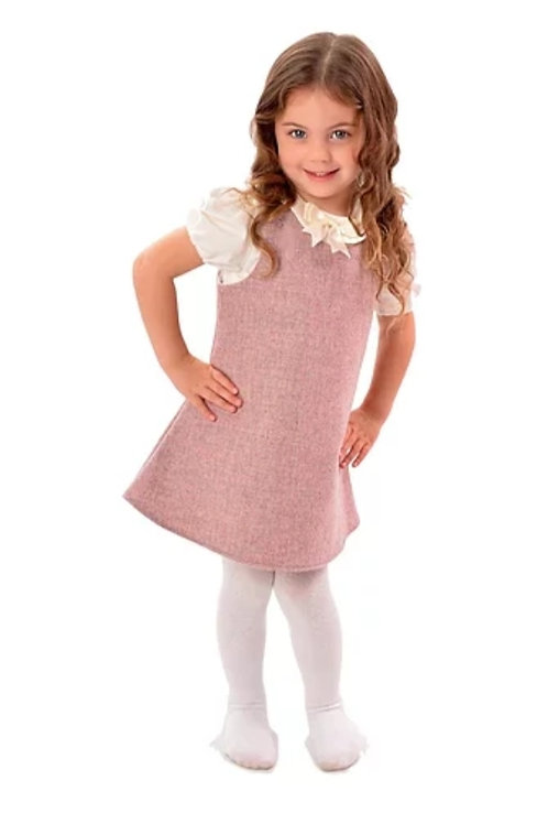 The Windsor Pinafore & PeterPan Blouse Set- Sugared Almond
