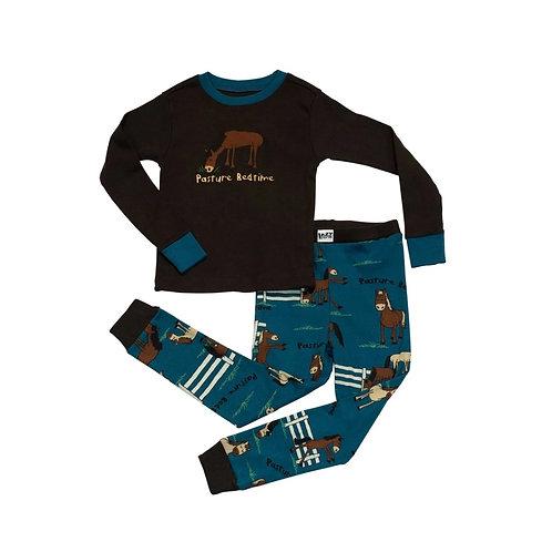 LazyOne Boys Pasture Bedtime Kids PJ Set Long Sleeve