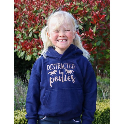 British Country Collection Distracted by Ponies Glitter Hoodie