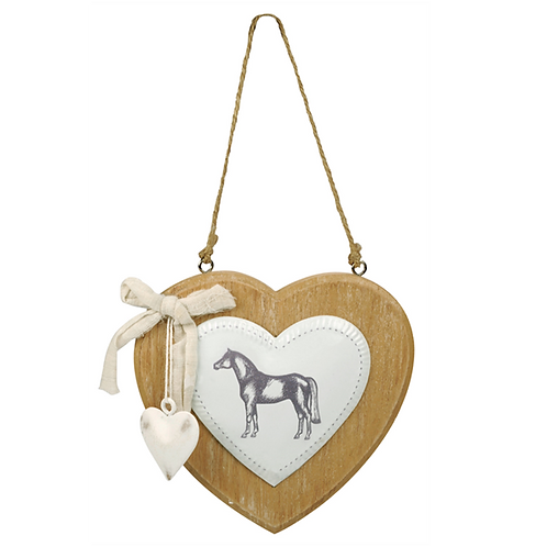 HappyROSS Large Horse & Heart Wooden Sign