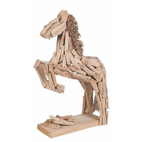 Oak Jumping Horse Statue 72 x 70 x 17 cm