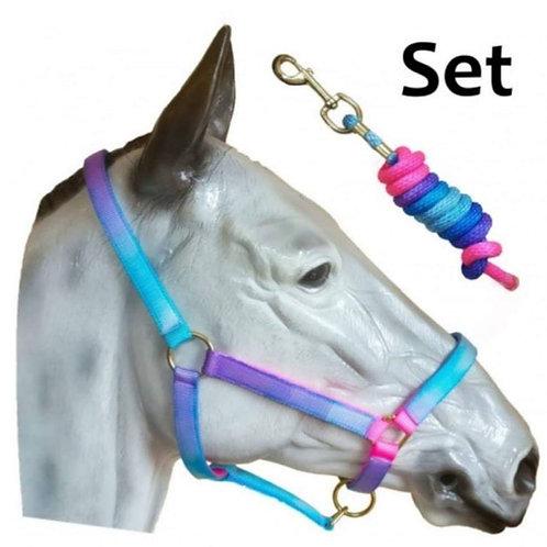 Sheldon Signature Unicorn Rainbow Headcollar & Leadrope Set