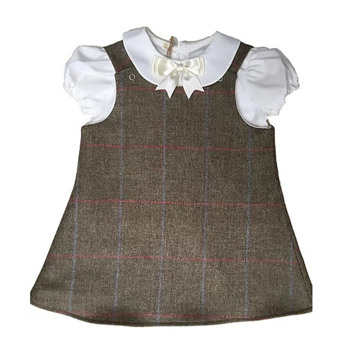 The Windsor Pinafore & PeterPan Blouse Set- Nuthatch