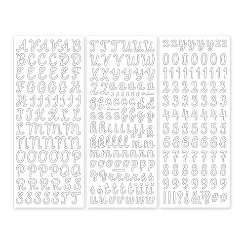 White Script ABC/123 Stickers (3/pk)