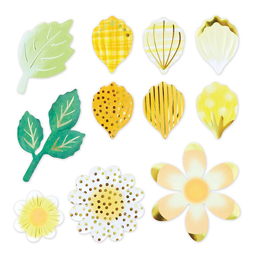 Botanical Burst Yellow Petals and Leaves Foiled Embellishments