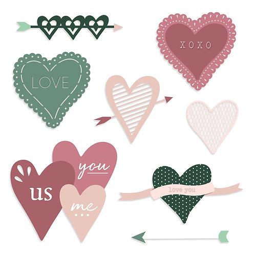 Sweetheart Laser Cut Word Embellishments