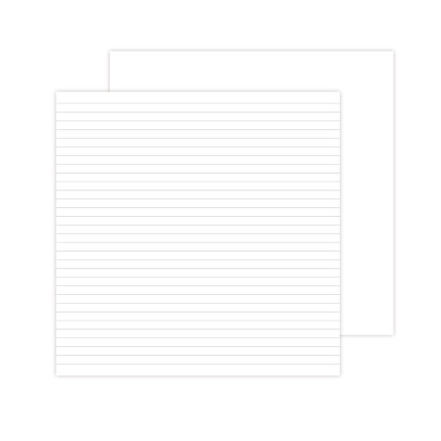 12X12 White Lined Designer  Paper Pack (12/pk)