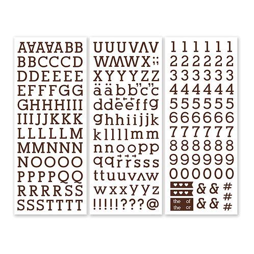 Brown Serif  ABC/123 Stickers (3/pk)