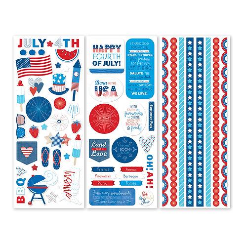 Festive Fourth  Stickers (3/pk)