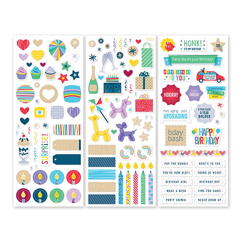 Party Time! Stickers  (3/pk)