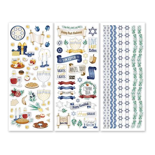 Jewish Holiday Stickers  (3/pk)