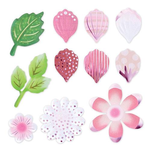 Botanical Burst Pink Petals and Leaves Foiled Embellishment