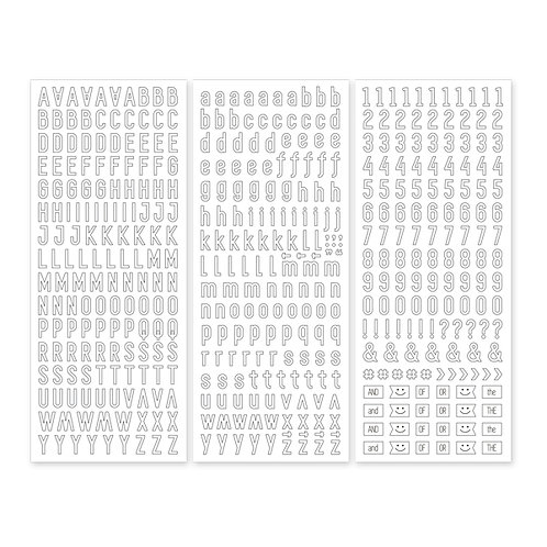 White Sans Serif  ABC/123 Stickers (3/pk)
