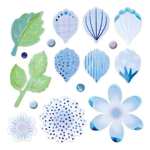 Botanical Burst Blue Petals and Leaves Foiled Embellishment