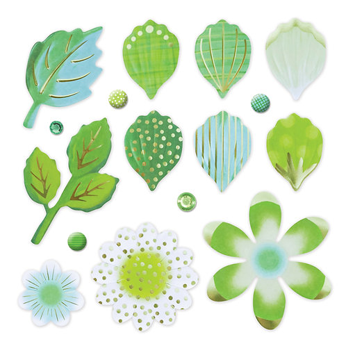 Botanical Burst Green Petals and Leaves Foiled Embellishment