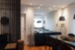 design, interiores, decoração, apartamento, studio, espaços, projeto, moderno, preto, cimento, concreto, decor, revestimento, contemporâneo