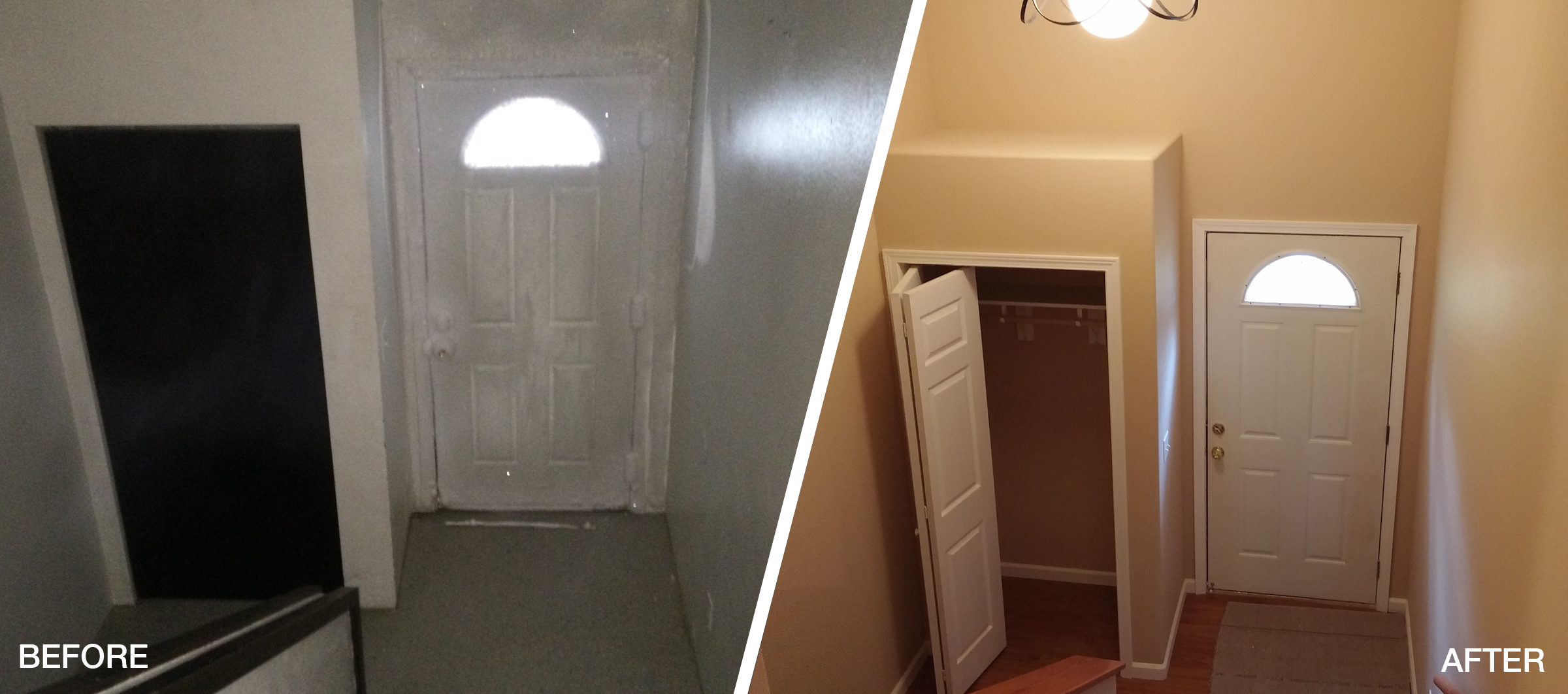 Freeze & Flood Front Door Before&After
