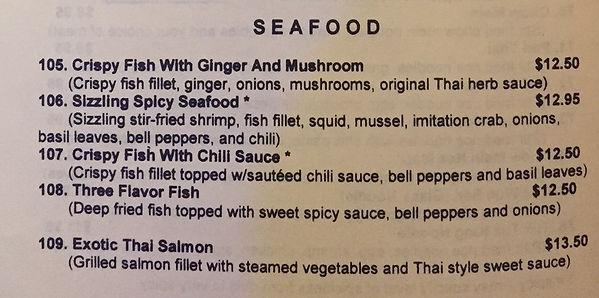 seafood menu Thai Tuk Tuk Corona CA  fish spicy chili salmon