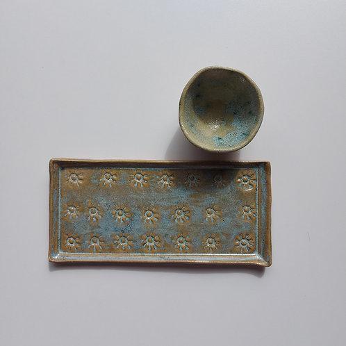 Conjunto verde furta-cor - Ceramista Leomara Burgel