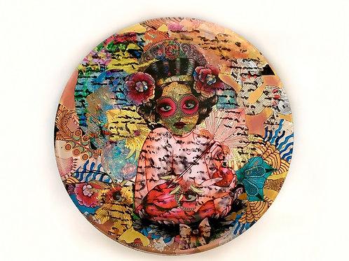 Decoupage em prato - Artista Maria Tereza Prado
