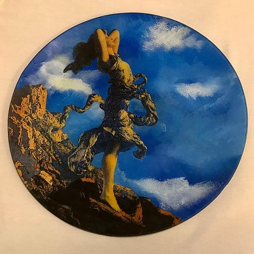 Decoupage em prato de vidro - Artista Maria Tereza Prado