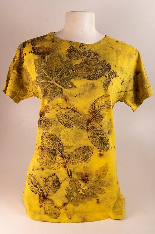 Camiseta Baby look Ecoprint Natureza G MC. - Artista Rejane Mota