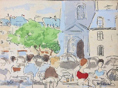 """""""Café na França"""" sem ano, Artista plástico - Paul Garfulkel"""