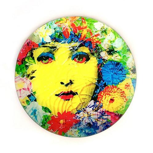 Decoupage em prato de vidro - Artista Maria Tereza Pradop