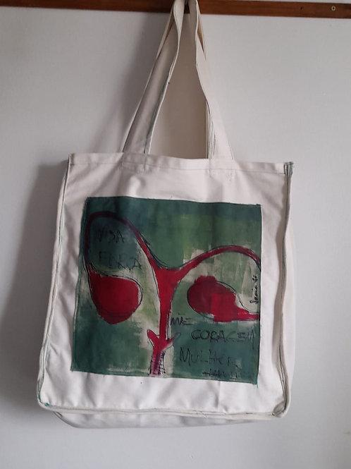 Bolsa com aplicação - artista visual Soraia So