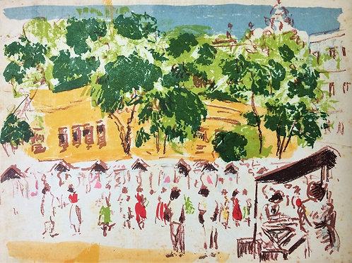 """Feira do Russel - RJ"" – 1958 - Artista Plástico Paul Garfunkel"