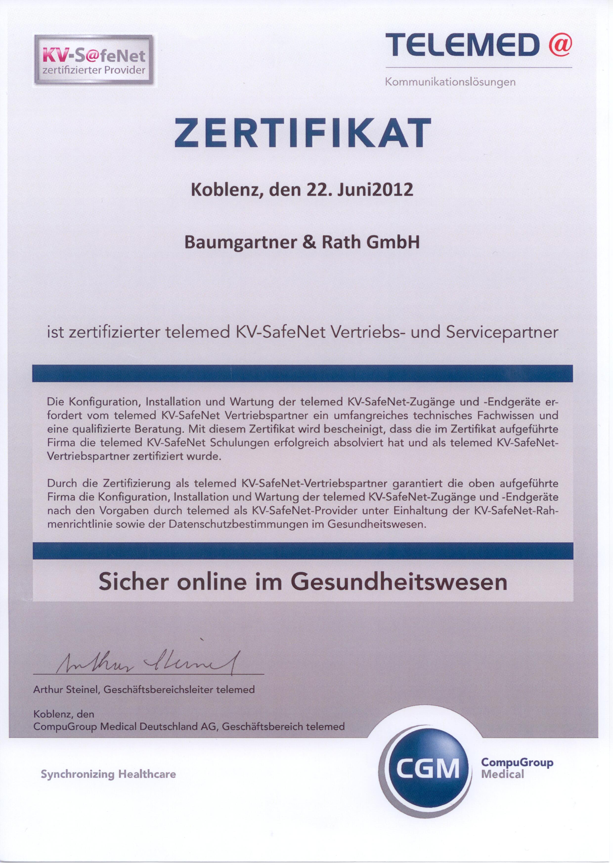 2012_10_Zertifikat - telemed KV-SafeNet