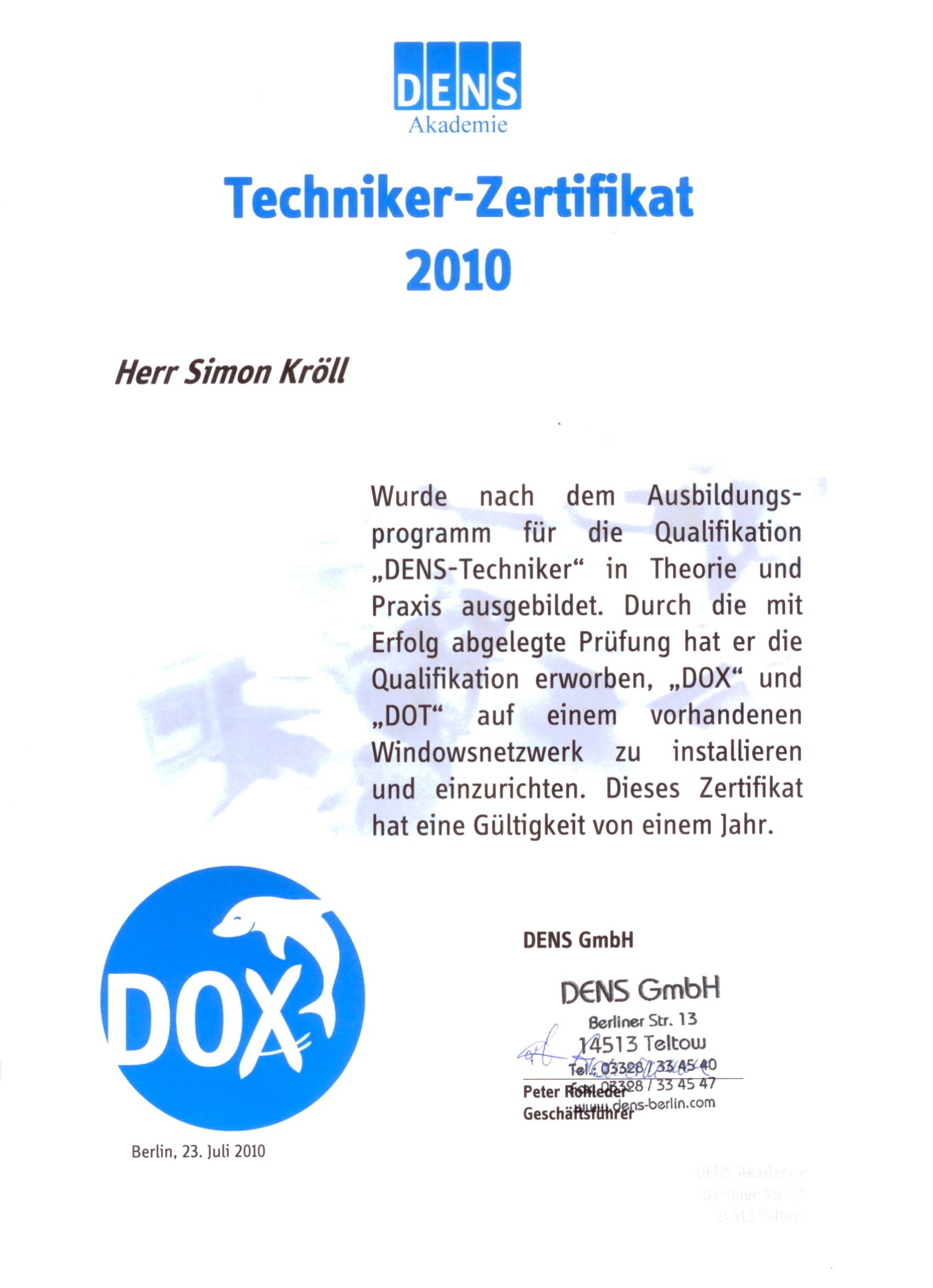 2010_07_DENS_Techniker Zertifikat 2010_K