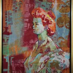Cabaret naar werk van Toulouse Lautrec hoogte 50 cm. breedte 40 cm.