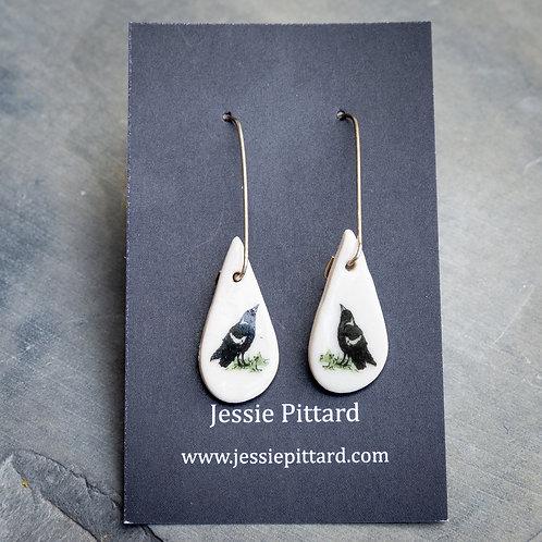 Australian magpie earrings No.82
