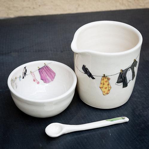 Medium milk pourer with sugar pot No.4