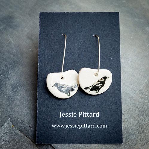 Australian magpie earrings No.92