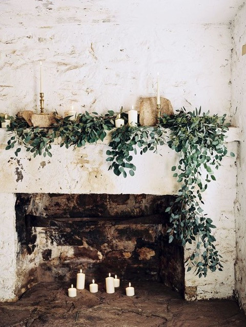 Wedding Candles in Fireplace