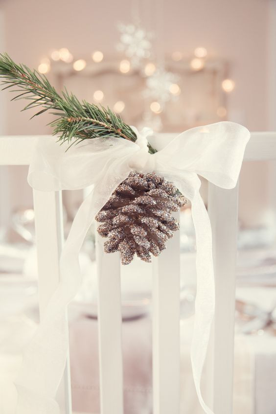 Winter Wedding Chair Decor